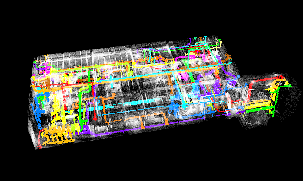 An image of the same point cloud with piping systems in different colors.