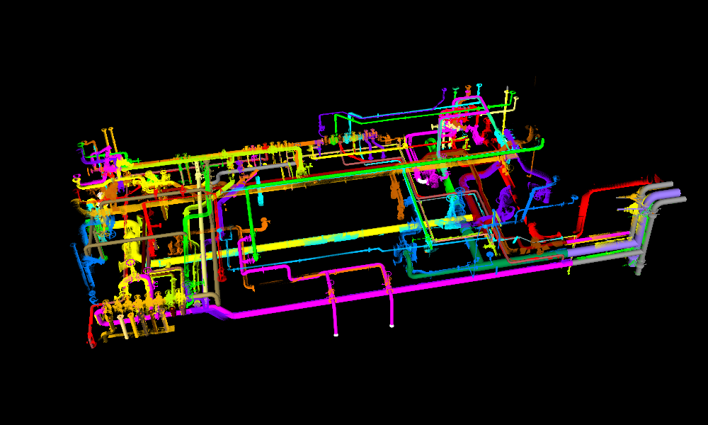 An image of the piping system point clouds with matching 3-D models.